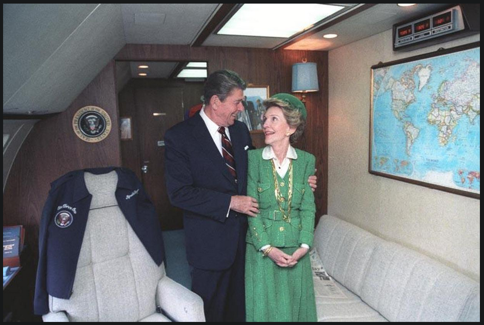 President Reagan aboard Air Force One