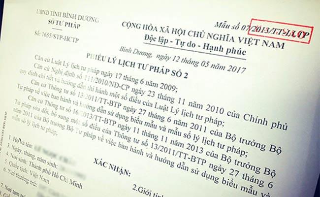 Hầu hết đương đơn có visa ở Việt Nam sẽ áp dụng phiếu lý lịch tư pháp số 2