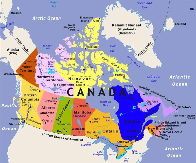 Bản đồ nước Canada với 10 tỉnh bang và 3 vùng lãnh thổ rộng lớn