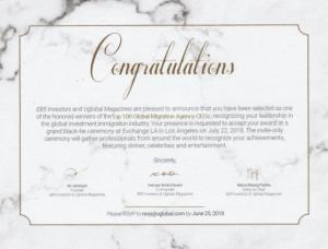Thư chúc mừng Interimm lọt Top 100 CEO Công ty Di trú hàng đầu Thế Giới từ ban tổ chức. Lễ trao giải sẽ diễn ra vào ngày 22.07.2018 tại Los Angeles, Mỹ