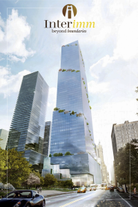 Phối cảnh tòa nhà The Spiral nổi bật giữa đại lộ 66 Hudson