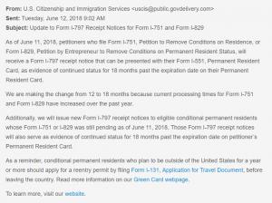 Cập nhật về Thông báo nhận đơn I-797 đối với Đơn I-751 và Đơn I-829 từ USCIS